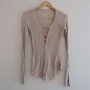 Free People Fitted Cream V Neck Long Sleeve